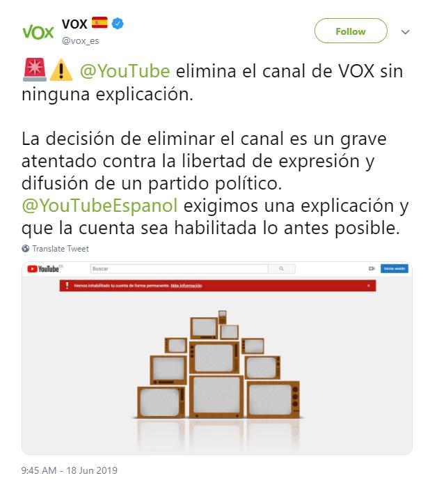 Youtube Censura o Partido Espanhol, Vox